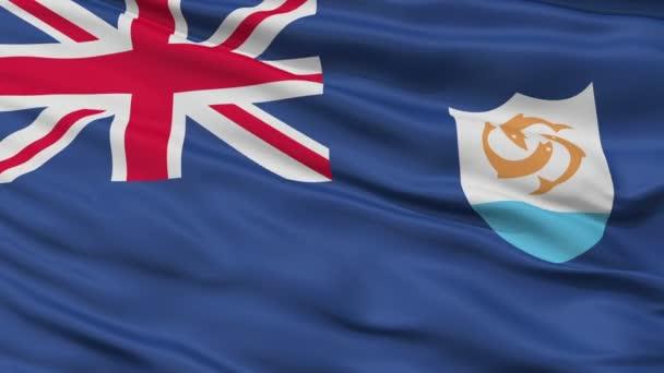 Close Up Waving National Flag of Anguilla