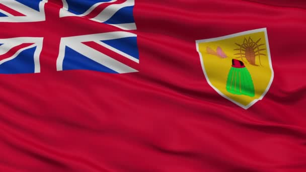 Close Up Waving National Flag of Turks and Caicos Islands
