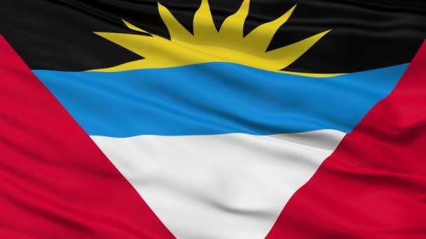 Close Up Waving National Flag of Antigua and Barbuda