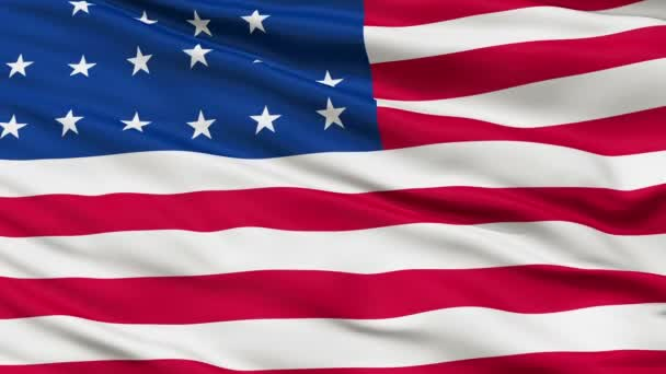 21 Stars USA Close Up Waving Flag