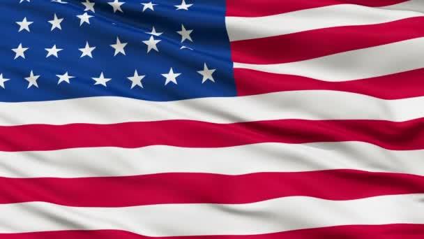32 Stars USA Close Up Waving Flag