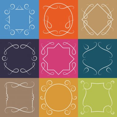 Vector set of retro monograms. Elegant Outline borders and decorative frames, abstract hipster templates. clip art vector