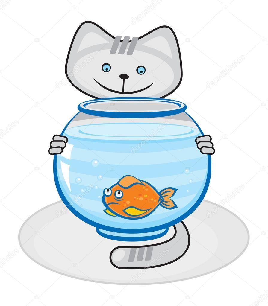 Gatto e pesci in acquario vettoriali stock for Pesce gatto acquario
