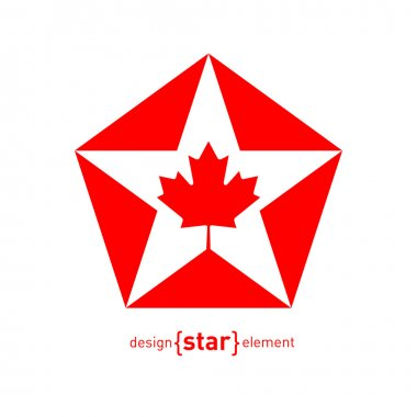 Star with Canadian maple Leaf