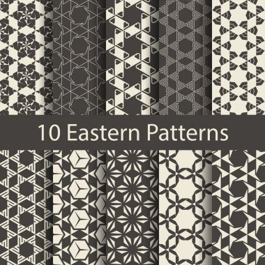 Geometric seamless patterns set.