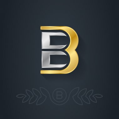 Gold and silver letter B