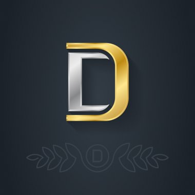 Vector elegant gold and silver font. Letter D. Template for company logo with monogram element. 3d Design element or icon. stock vector