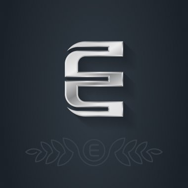 Silver font  Letter E