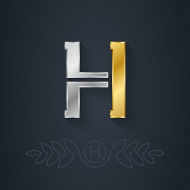 Gold and silver letter H