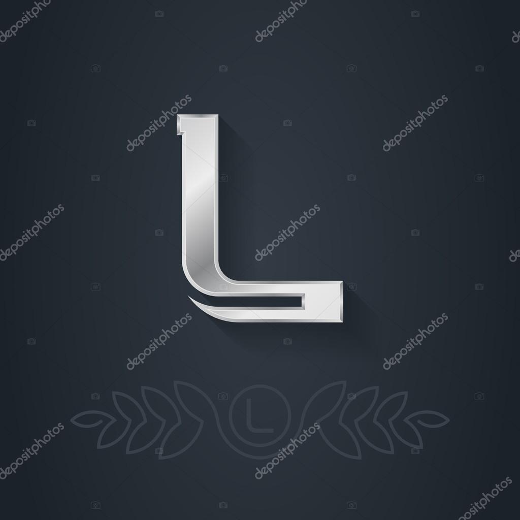 Silver font  Letter L