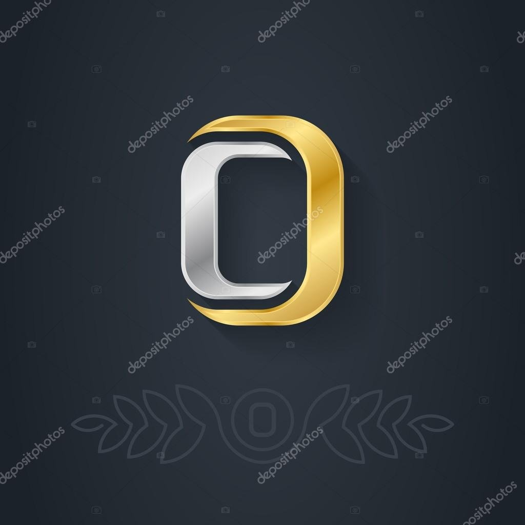 Gold and silver letter o stock vector thebackground 69651479 vector elegant gold and silver font letter o template for company logo with monogram element 3d design element or icon vector by thebackground buycottarizona
