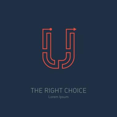 design template, letter U.