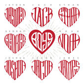 Photo mens names in shape of heart