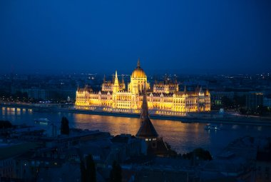 illuminated building of the National Hungarian Parliament at night