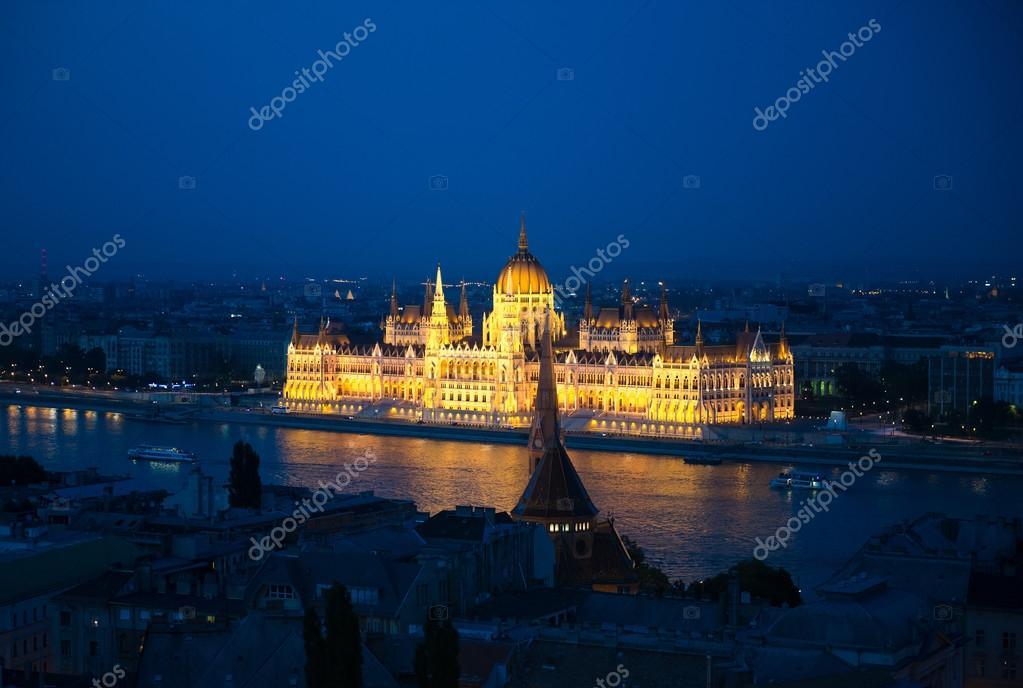 illuminated building of the National Hungarian Parliament at night