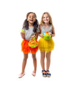 little cute girls with easter baskets