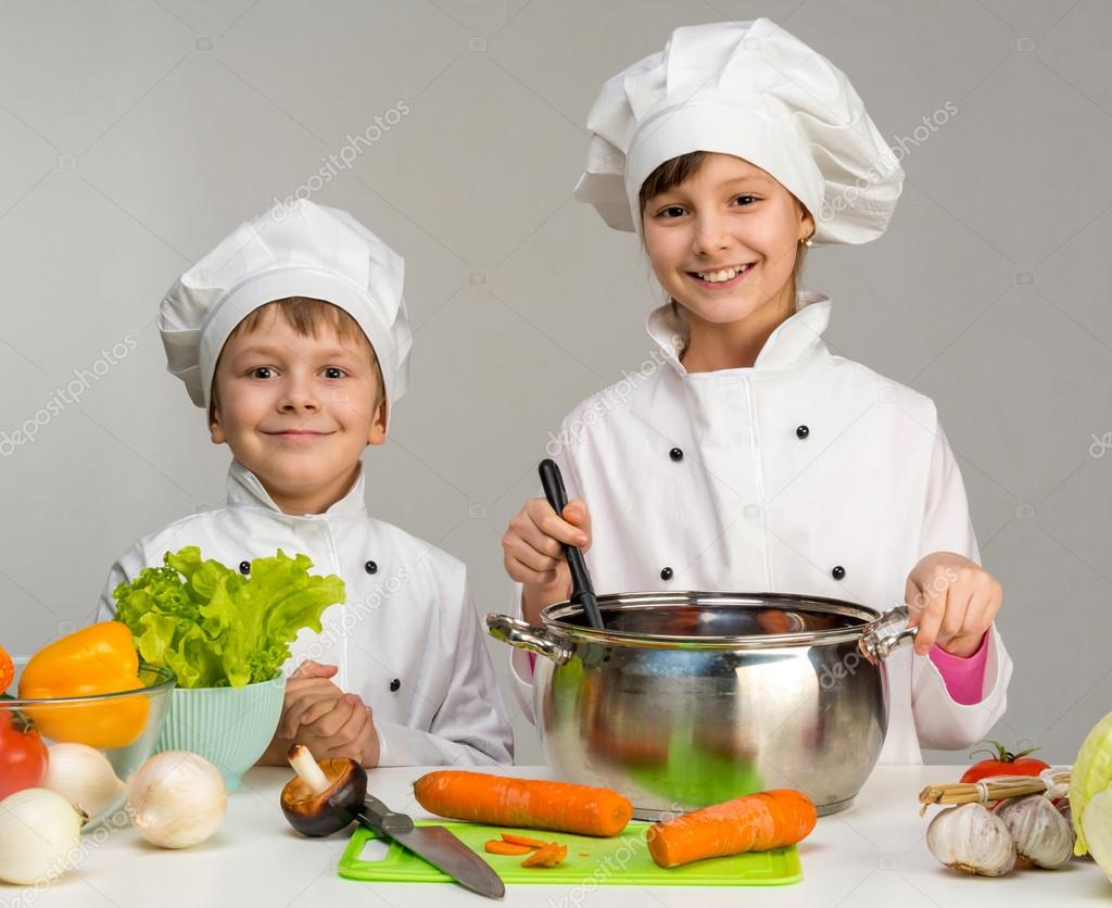 two little chefs cook and smile