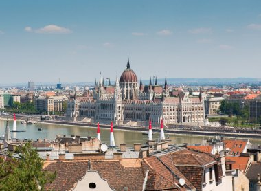 Budapest cityscape with National Hungarian Parliament on the background