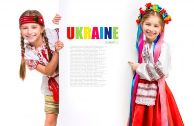 Girls in  Ukrainian costume and  board