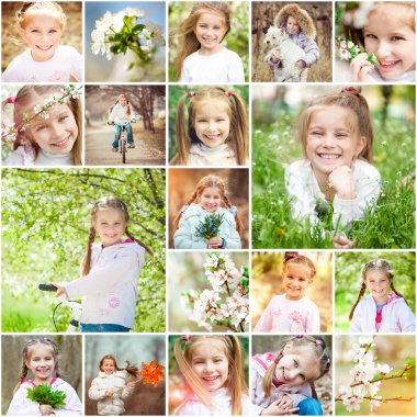 Photo collage of  girl and flowers