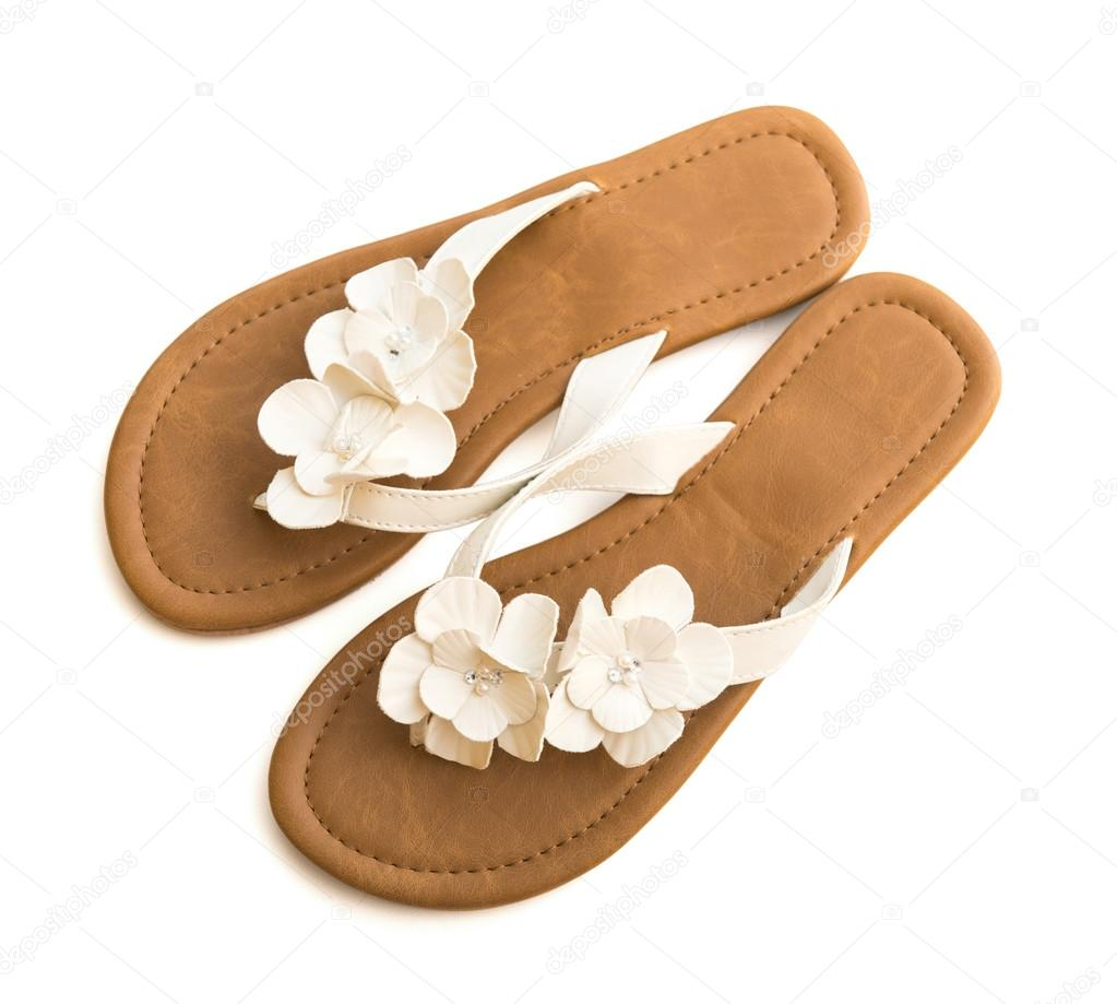 Casual Flip Flops With Flowers Stock Photo Tan4ikk 69883977