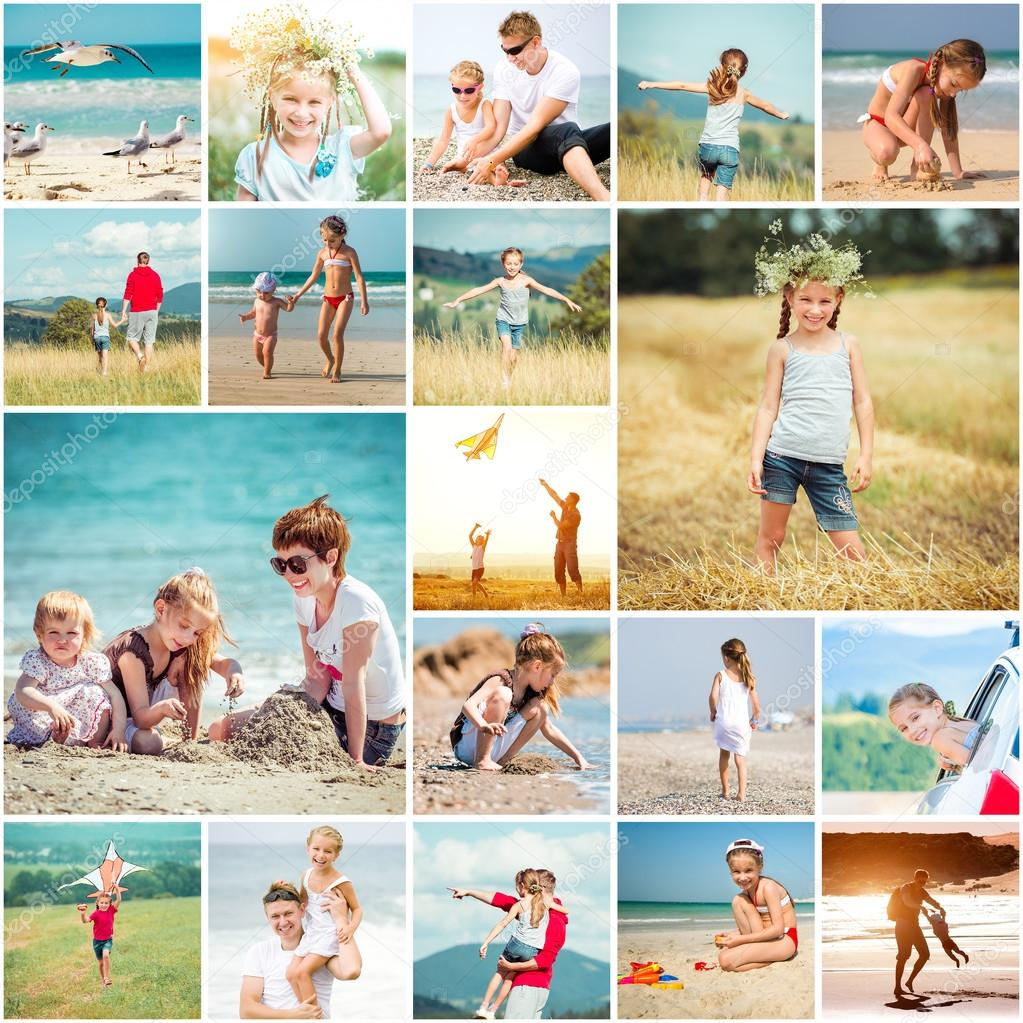 Collage of  summer vacation with  family