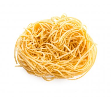 Raw egg noodles on a white background stock vector