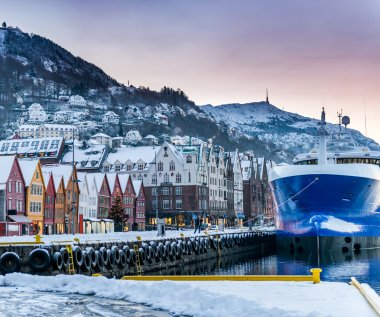 Seafront with ship in winter Bergen