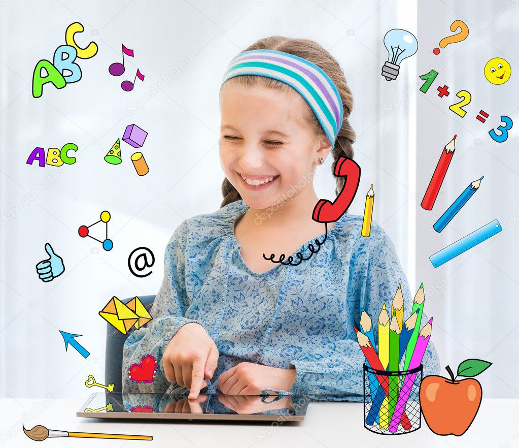 Happy little girl and her magic tablet stock vector