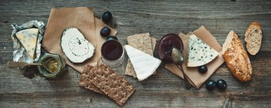 French food on a wooden background.
