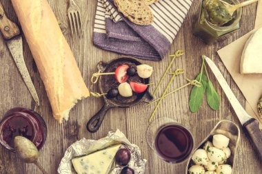 French food on wooden background