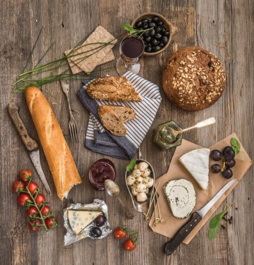 French snacks on  wooden background