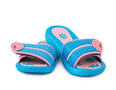 children blue flip flops with pink decoration