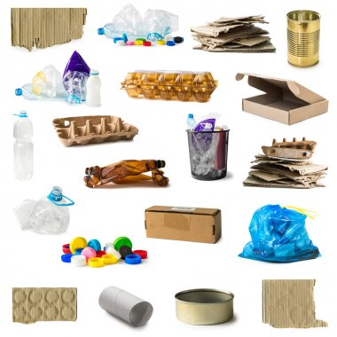 Collage of plastic and carton rubbish isolated on white background stock vector