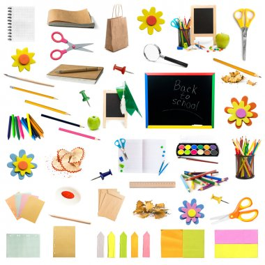 collage of childish stationery