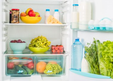 fridge inside with food