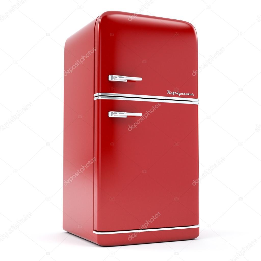 Retro Kühlschrank auf weißem Hintergrund — Stockfoto © zamula #103977788