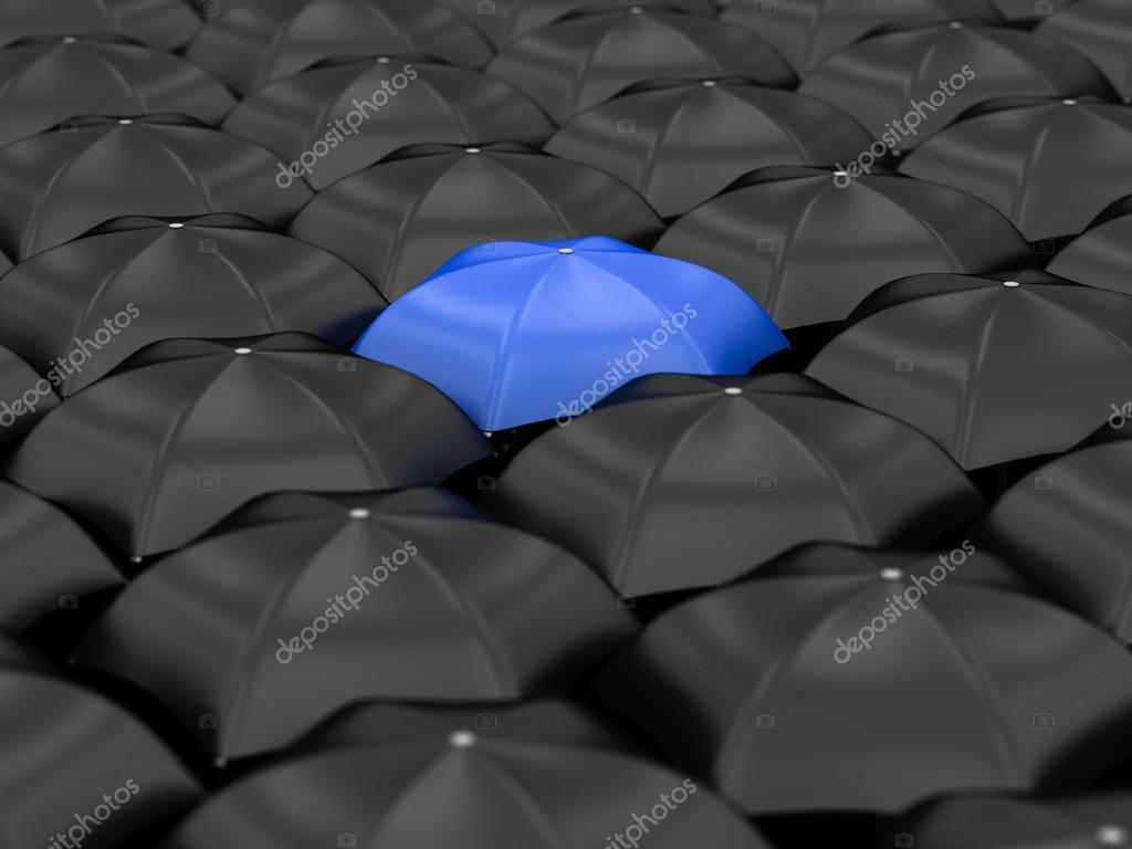 Unique Blue Umbrella With Many Black Umbrellas Photo By Zamula Find Similar Images