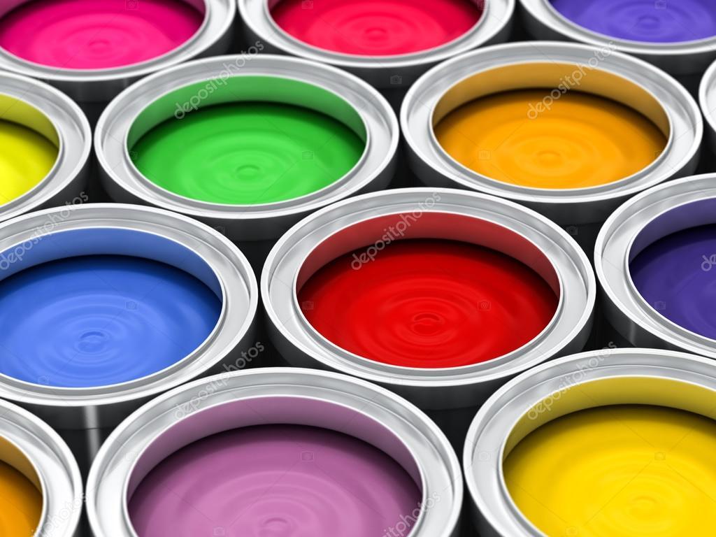 plusieurs pots de peinture de couleur — Photographie ...