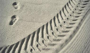 Traces on the beach sand