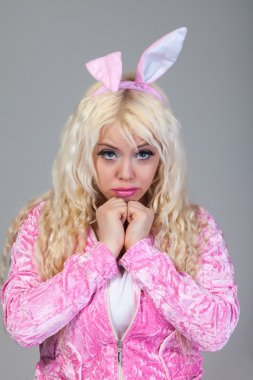 Woman as easter bunny