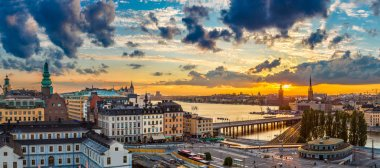 Panorama of  Stockholm at sunset