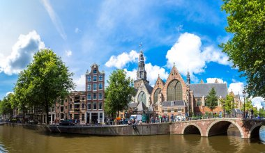 Old Church and Voorburgwal canal in Amsterdam