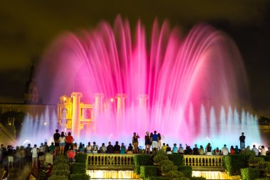 Fountain light show at night in Barcelona
