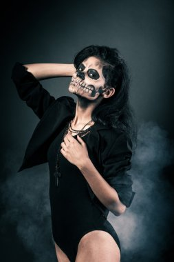 woman with Halloween  skull face