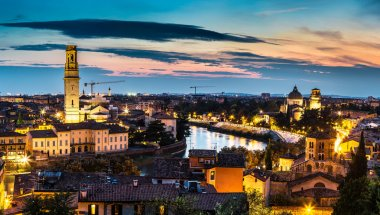Verona at sunset in Italy