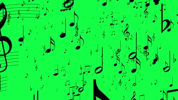 Animated background with musical notes, Music notes flowing, flying stream hromakey