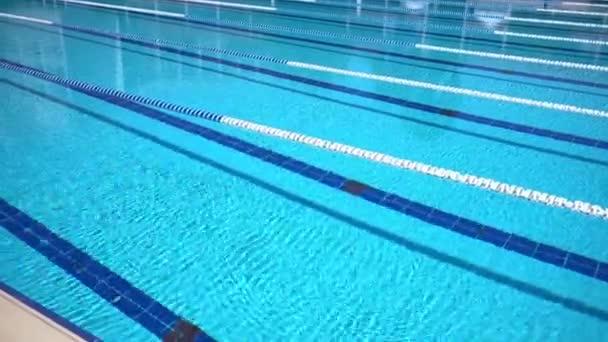 Olympijský bazén na pozadí za jasného slunečného dne