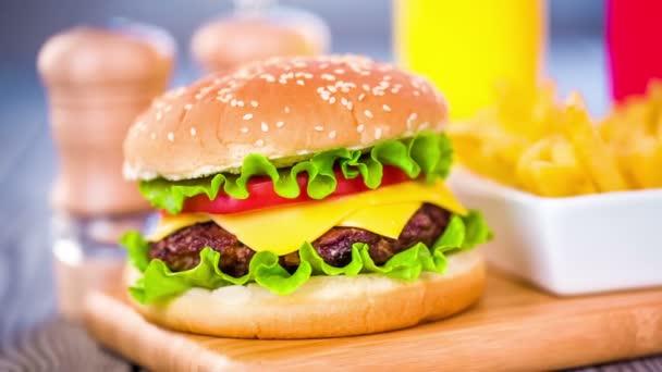 Appetizing hamburger cheeseburger