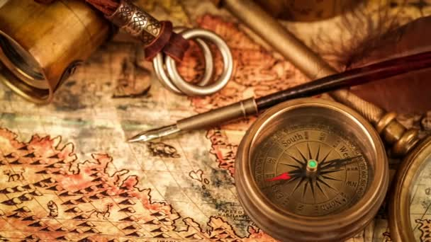 Magnifying glass on ancient map